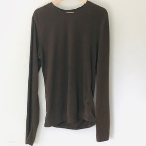 Structure Crew Neck Brown Long Sleeve T Shirt S